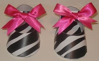 10  Zebra & Hot Pink Shoe Favor Boxes/ Gift Box (Mary Jane Girl)