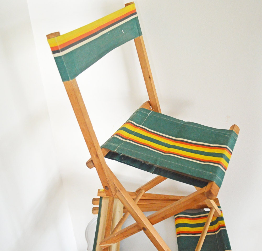 Pair Vintage Canvas Camp Chairs Folding Wood Frame by mothrasue