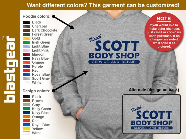Keith Scott Body Shop hooded sweatshirt -- Any color/Any size choice - Adult S through 5XL, Youth S through XL