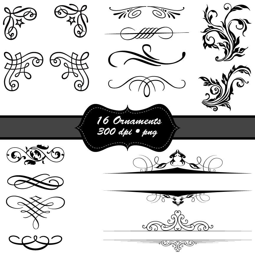 Calligraphy borders and ornaments clip art by mystickystickers