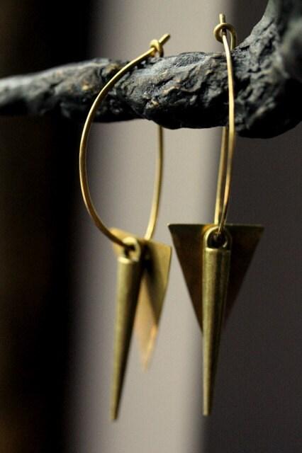 """Brass Spike Geometric Earrings - 'Content"""" - NighBluey"""
