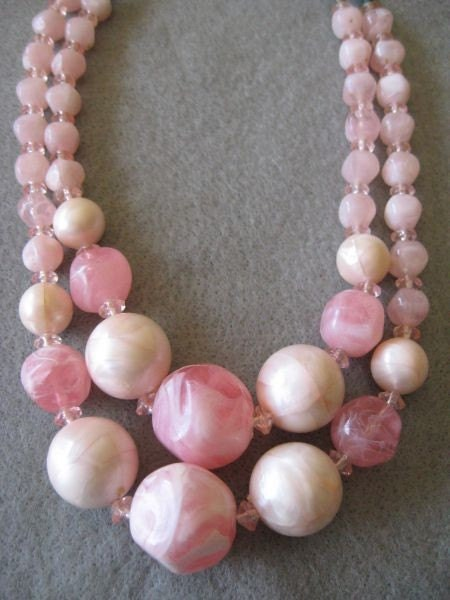 Vintage Marbled Pink Bead Double Strand Costume Necklace - treasureturf