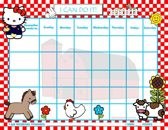 ... Incentive Chart / Chore Chart - My Kitty says, Hello - Printable