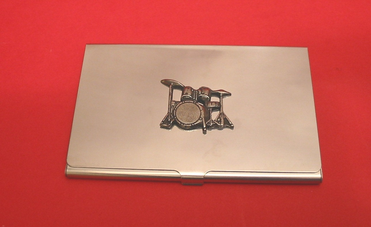 Drum Kit Chromed Card Holder With Hand Cast Pewter Motif Rock Country Band Music Gift