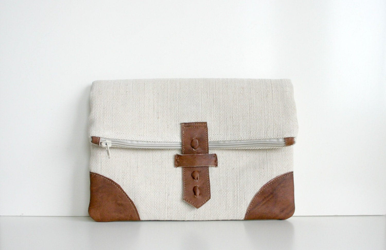 Fold over Clutch Purse Bag Leather Natural Linen Canvas - HelloVioleta