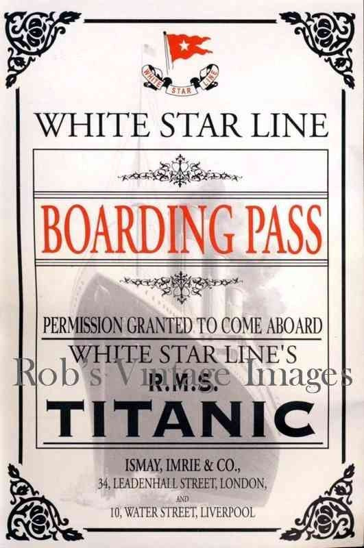 Titanic Boarding Pass Photo Print White By Robsvintageimages
