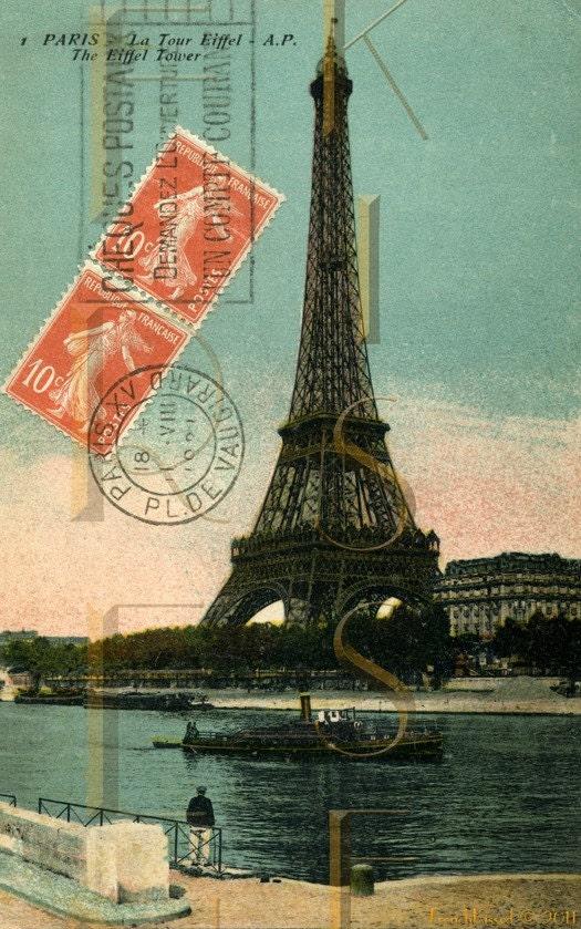 Items similar to orange postage stamp eiffel tower paris for Paris orange card