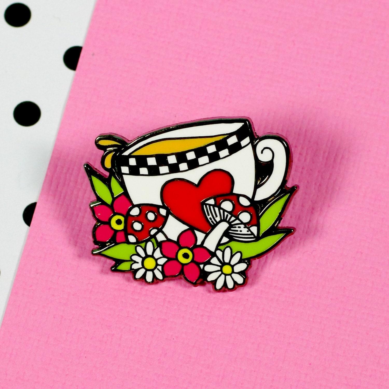 Alice Tea Enamel Pin  Alice in Wonderland lapel pin hard enamel pin  EP127