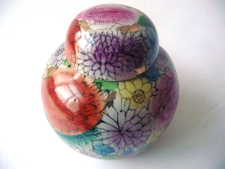Vintage Colorful Hand Painted China Porcelain Pot - Vase - PortugueseWonders