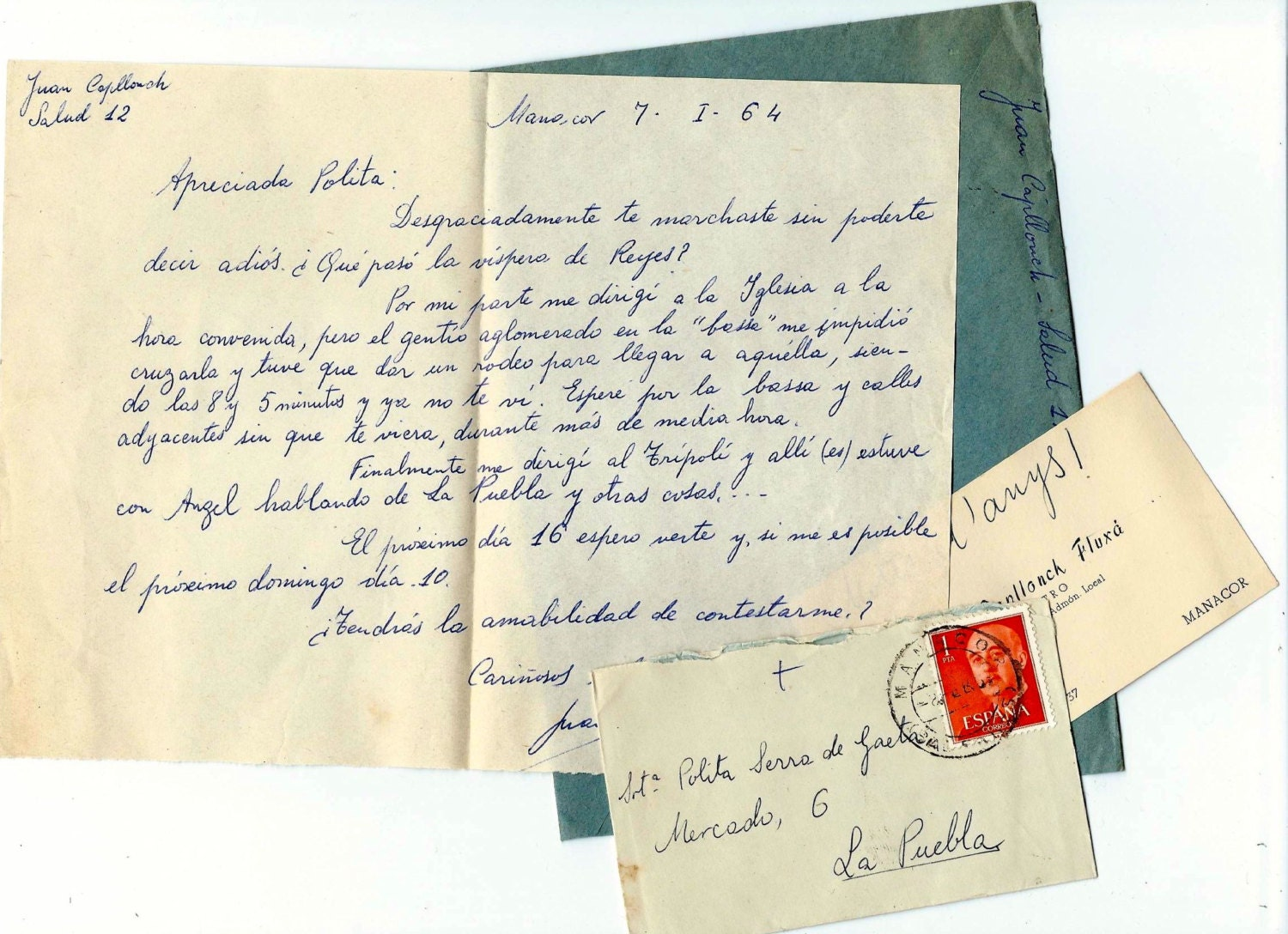 Vintage LOVE letters and envelopes from SPAIN  - Handwritten ephemera - Set 41 - BlueGrizzlePapers