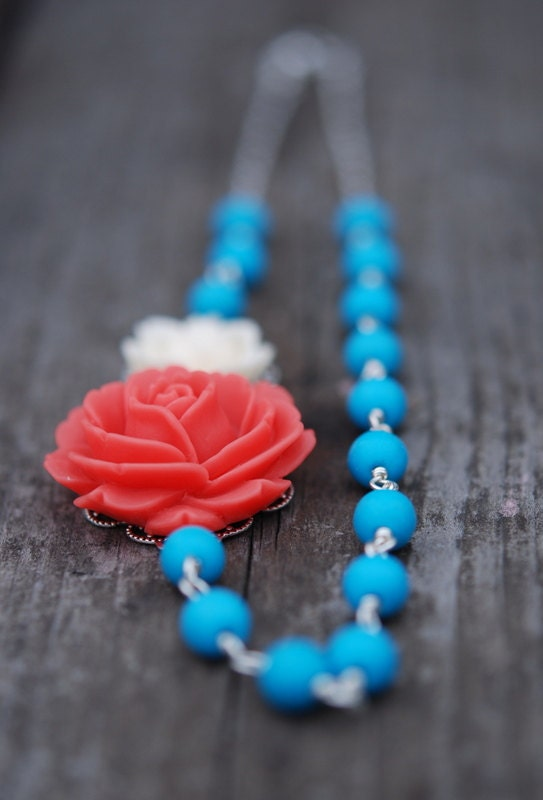 Summer Brilliance - Coral Pink Rose and Cream Lotus Cabochon Necklace with Turquoise Beads
