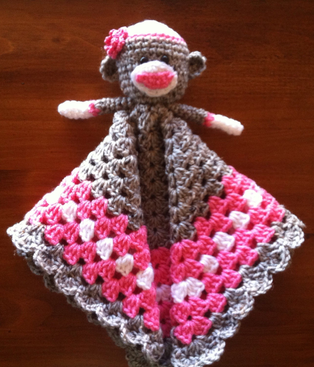 Sock Monkey Lovey security blanket pink and by Shannanagans13