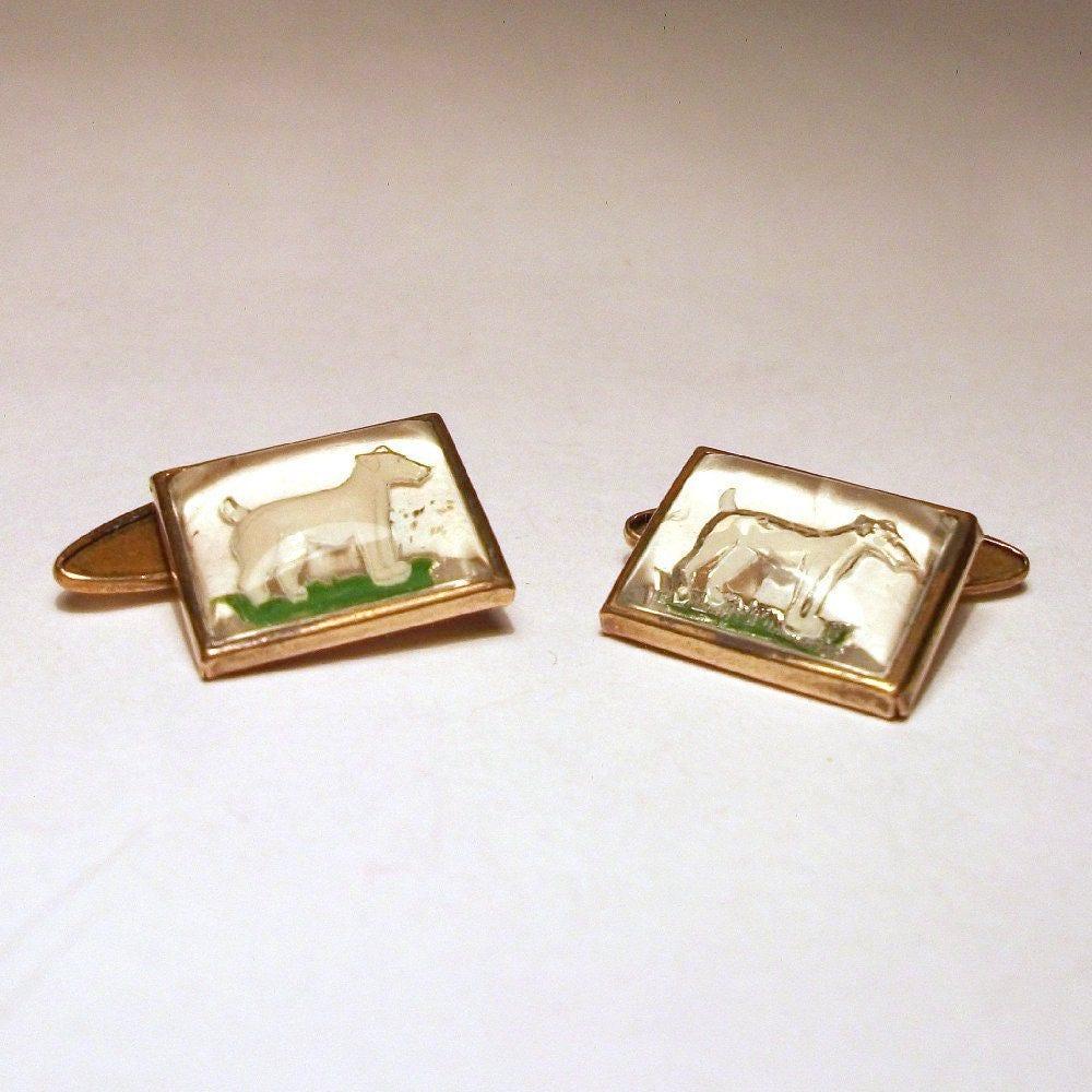 Art Deco Cufflinks White Dogs Essex Crystal 1930s Vintage Intaglio Scottie Terrier Jack Russel Gold Plate