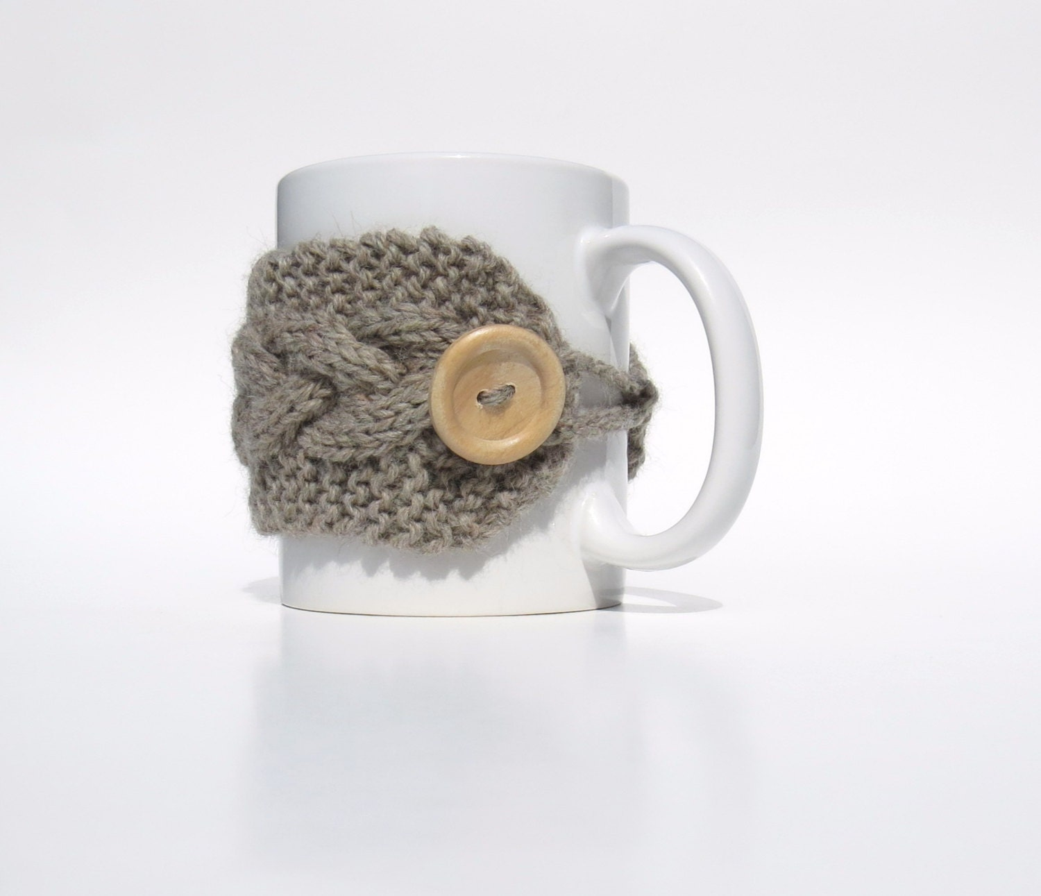 Cabled Knit Coffee Mug Cup Cozy Natural Grey Wool Wood Button Hand Knit - StoneyCreekKnitters