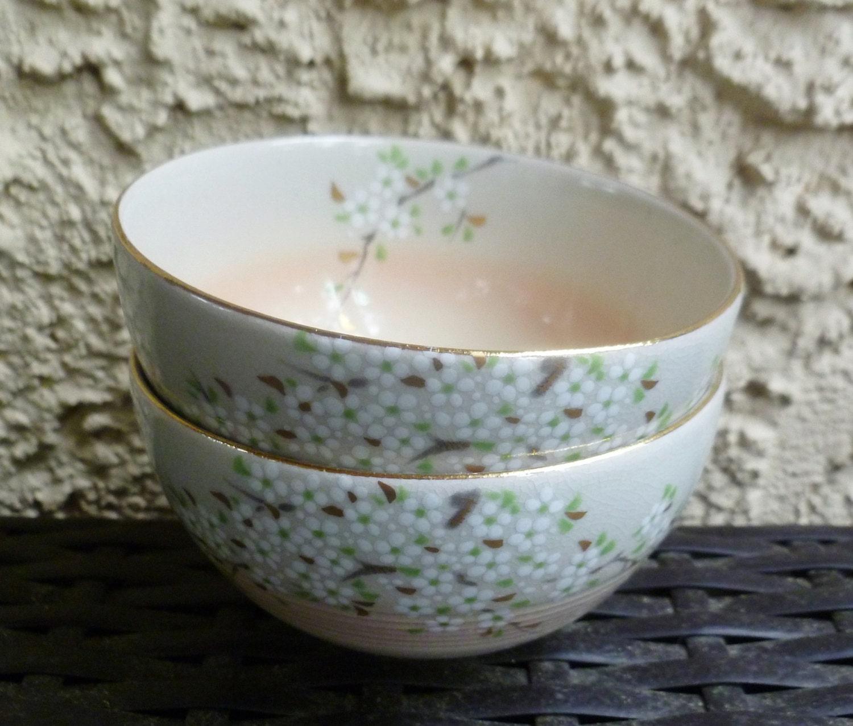 Japanese Rice Bowls. Cherry Blossoms. Tea Sake Cups. Lovely Vintage ...