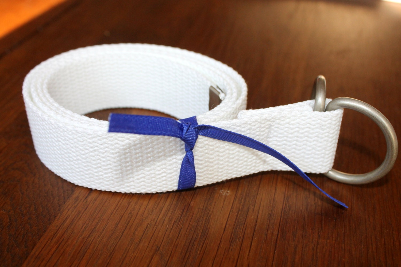 "Mens White Belt Webbing Ladies  D Ring 1.25"" Wide - tuteesribbon"