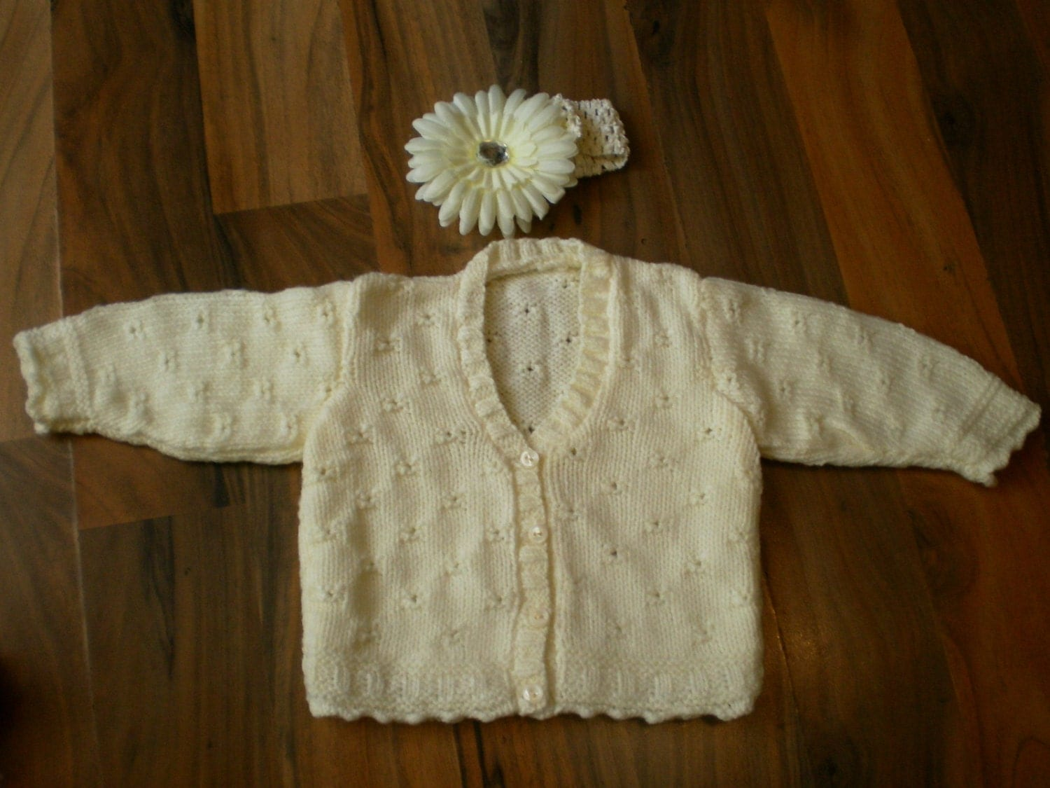 cute hand knitted baby cardigan complete with crochet headband with large flower cream 36 month