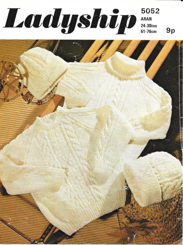 Child Hat Pattern Child Aran Sweater Vintage Knit Pattern Child Knit Pattern Child Sweater Child Aran Pattern Instant Download Jumper
