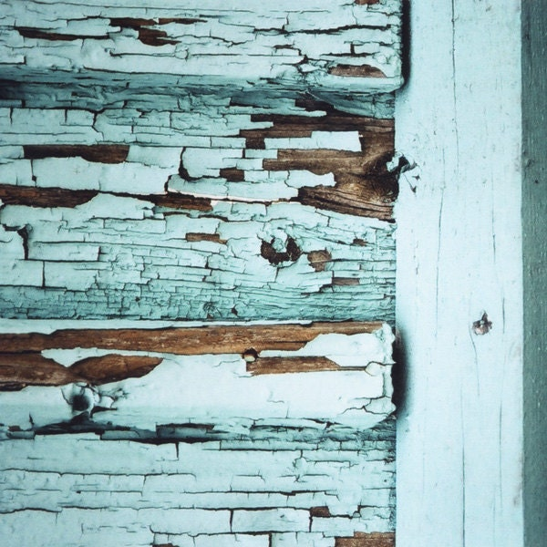 mint wooden wall, abstract photography, 8x8 architecture photo, peeling paint, reclaimed wood art, cyan, turquoise, rustic barn doors decor - bialakura