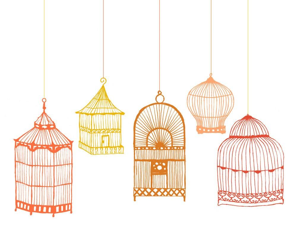 Vintage birdcage illustration