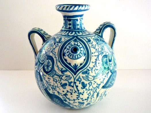 Antique Blue And White Italian Pottery Urn Vase By ZenHen