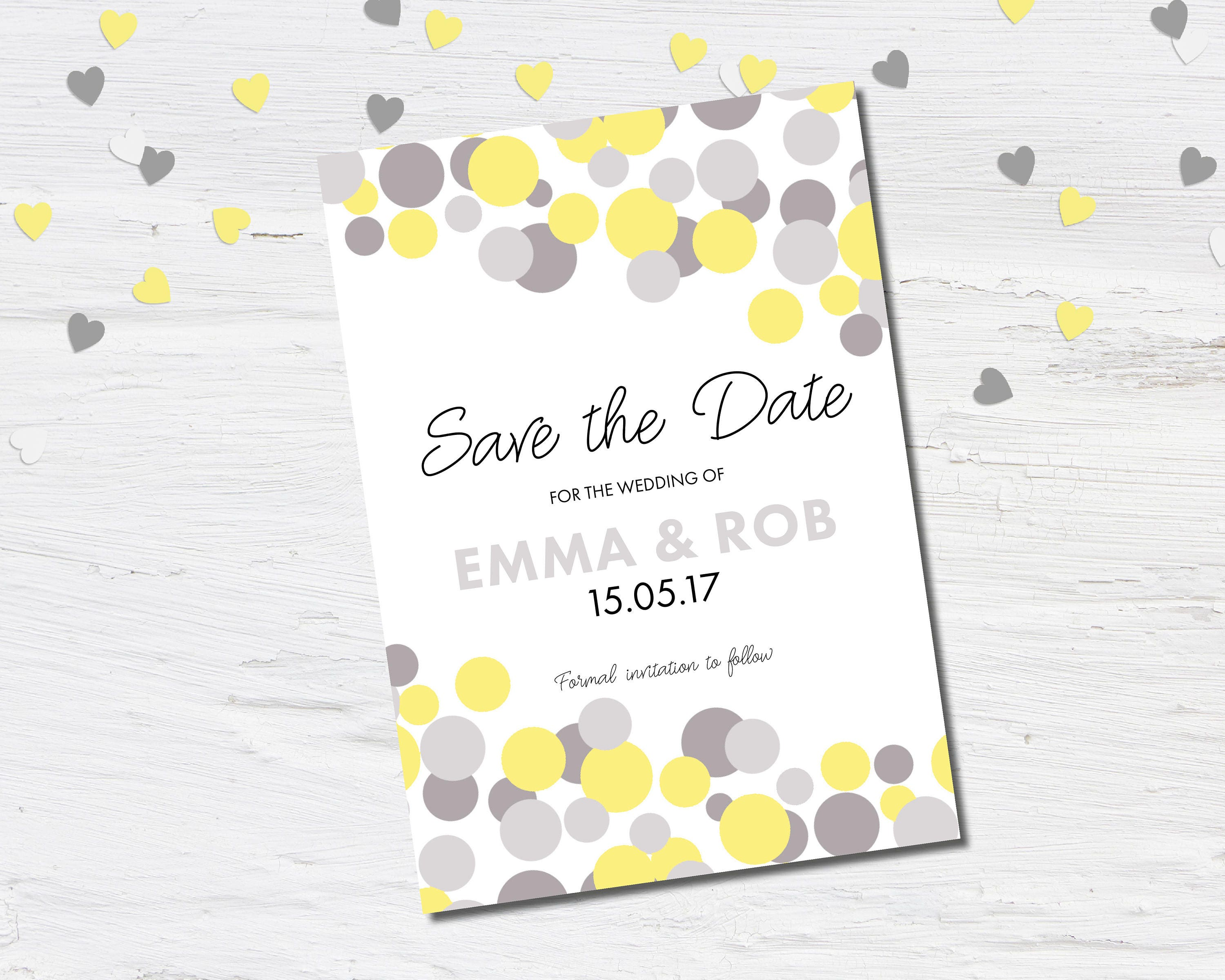 Modern Wedding Save the Date Save the Date Card Confetti Silk or Magnetic