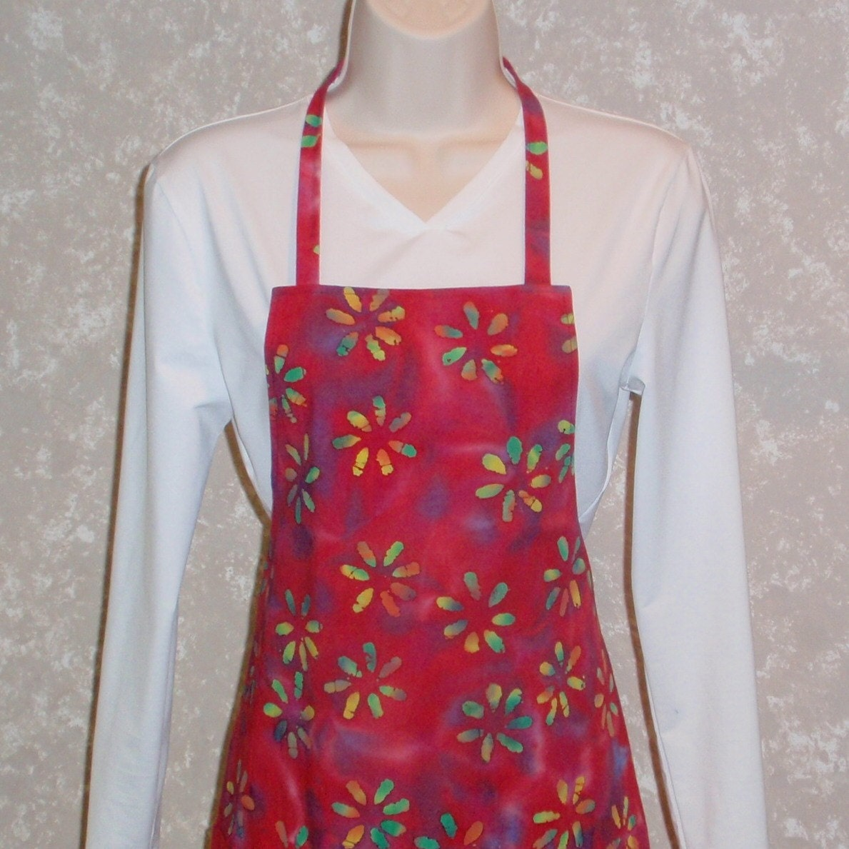 Apron Red Batik Floral Reversible - Small Adult or Older Child Size - ksewingbasket