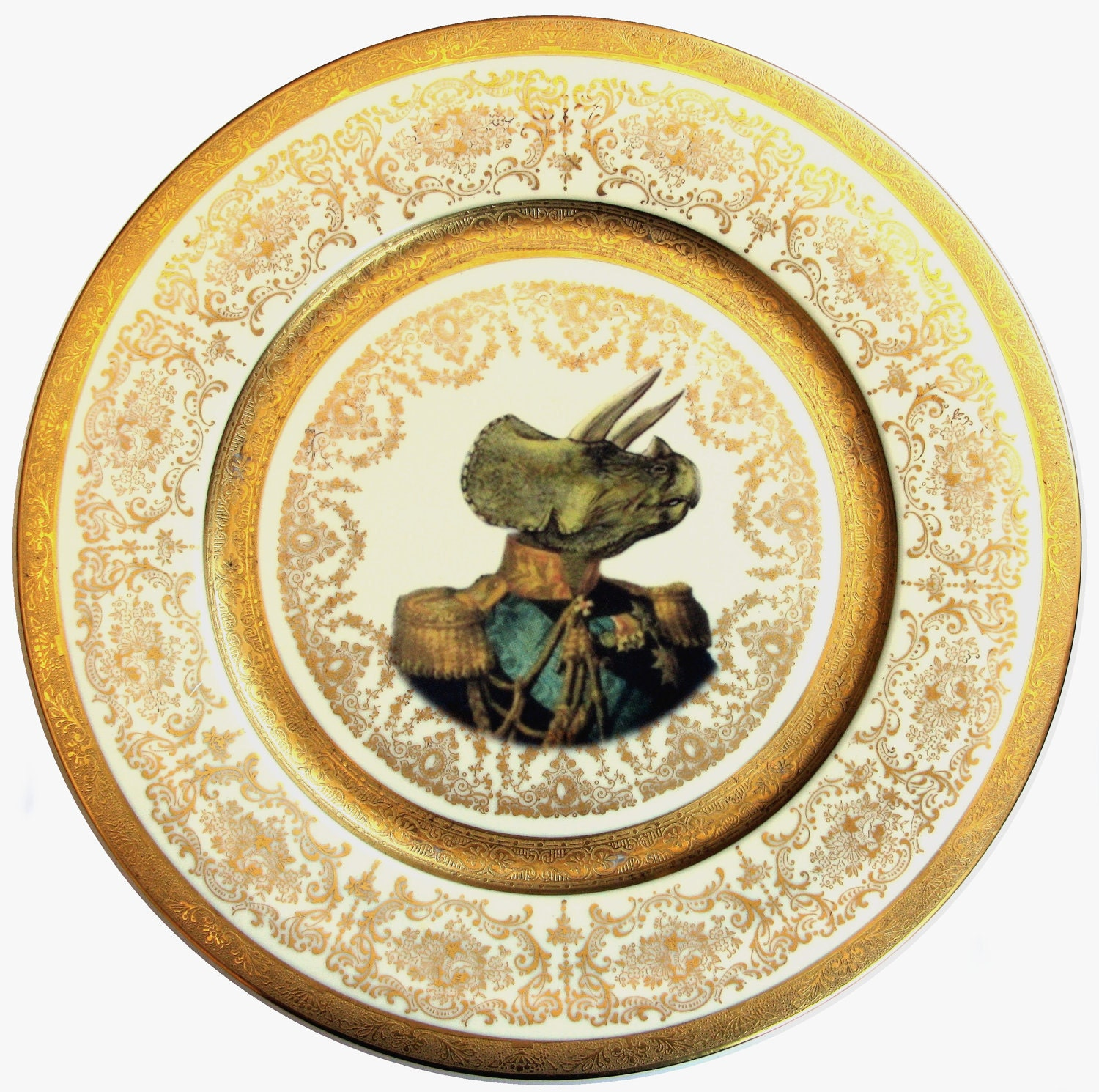 Admiral Triceratops Portrait Plate - Altered Antique Plate - BeatUpCreations