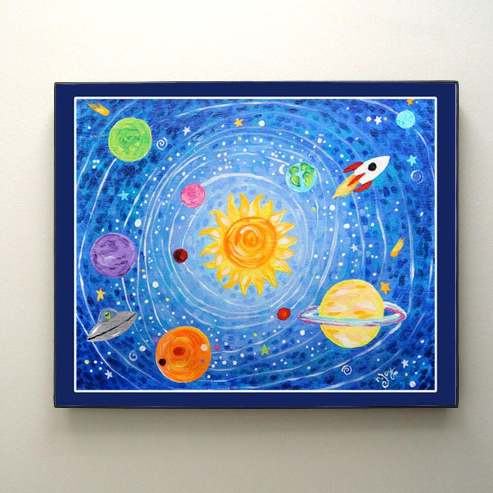 prints for kids solar system 10x8 print kids room by njoyart. Black Bedroom Furniture Sets. Home Design Ideas