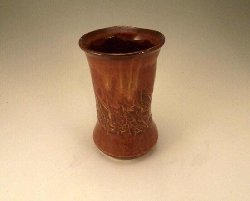 Velvet icing - small lustrous earth red vase