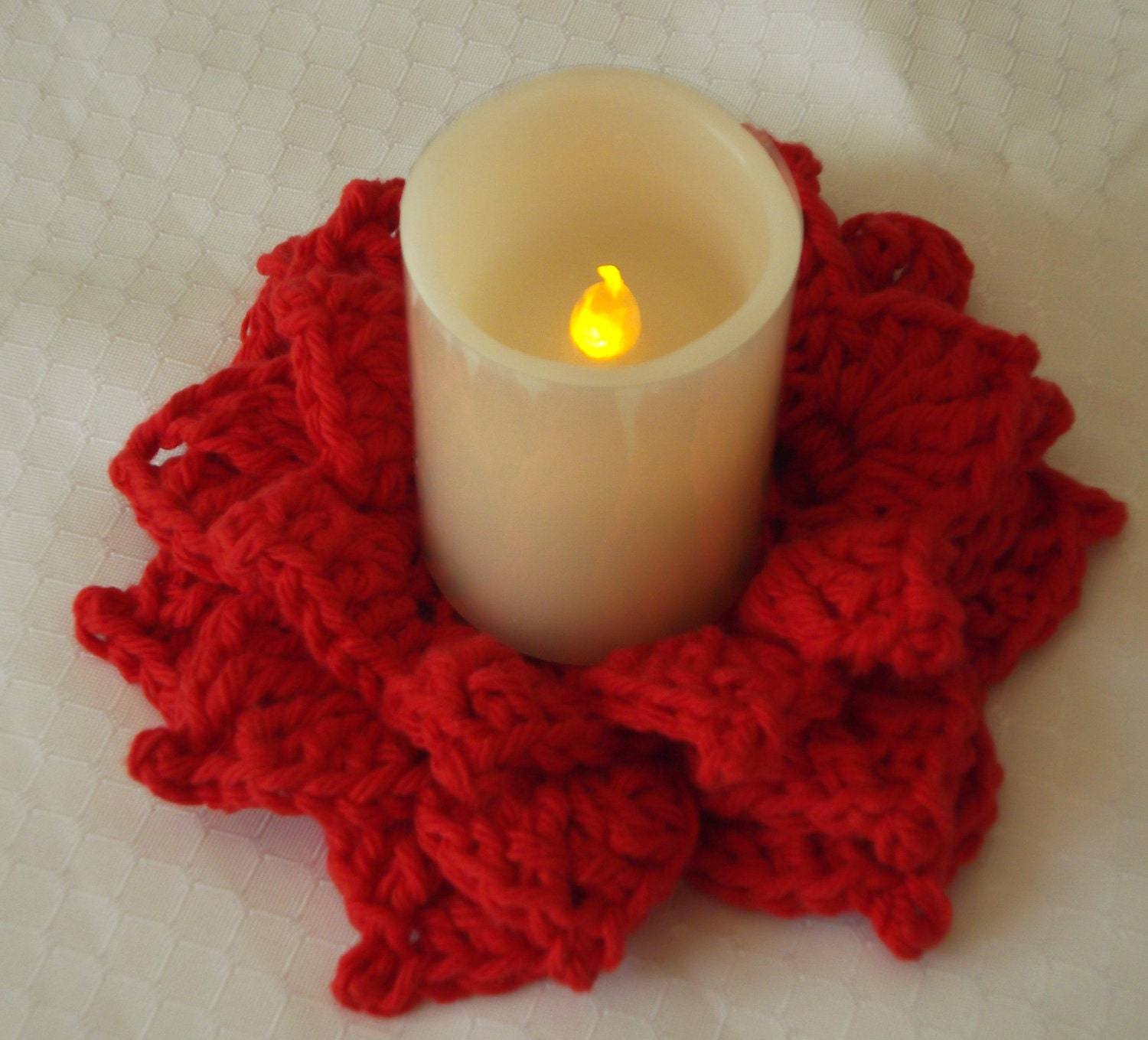 Red Flameless Crochet Candle Holder Candle Included