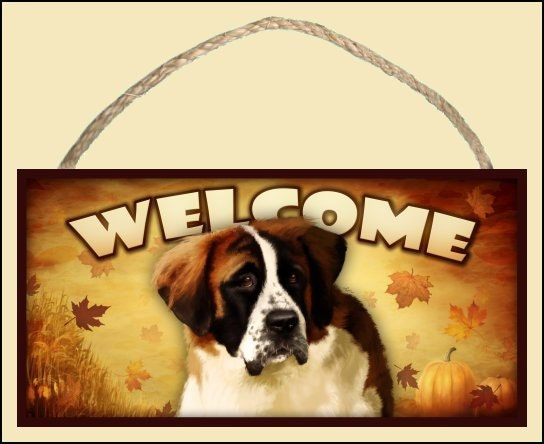 "St. Bernard Fall / Autumn Season 10"" x 5"" Wooden Welcome Sign"
