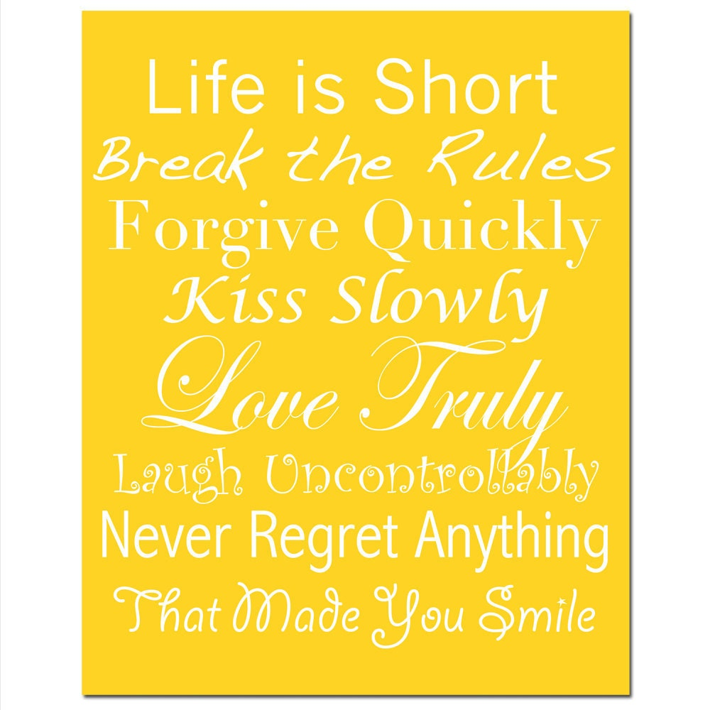 life rules 8x10 print inspirational quotes and by tessyla