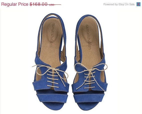 ON SALE Shirley, Royal Blue, Sandals, Flat Leather Sandals - TamarShalem