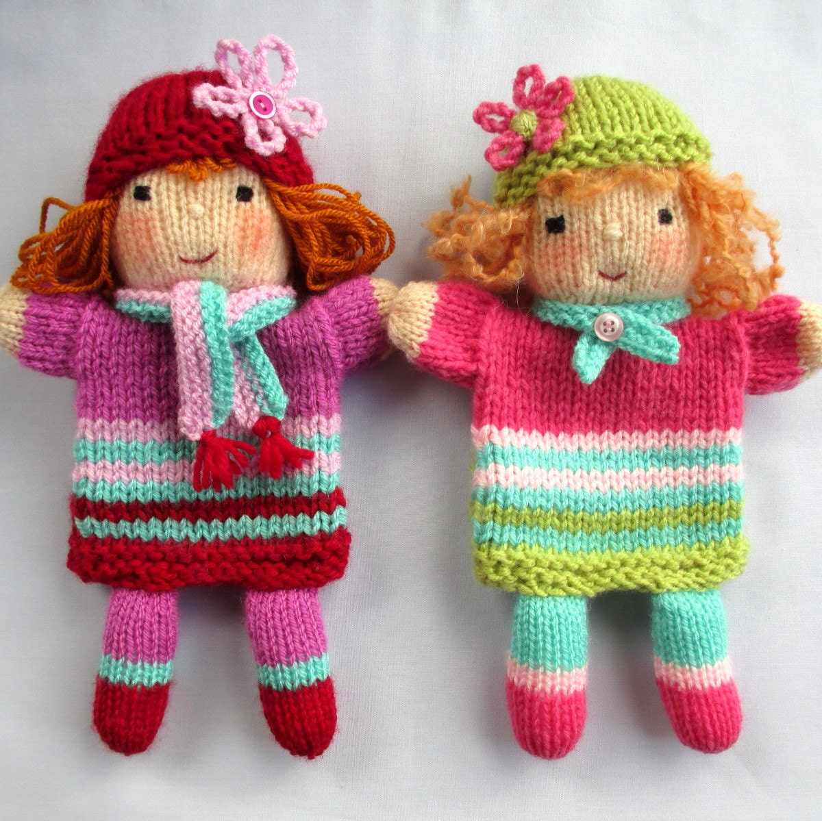 Cable Mittens Knitting Pattern : Ruby and Rose hand puppet doll knitting pattern by dollytime