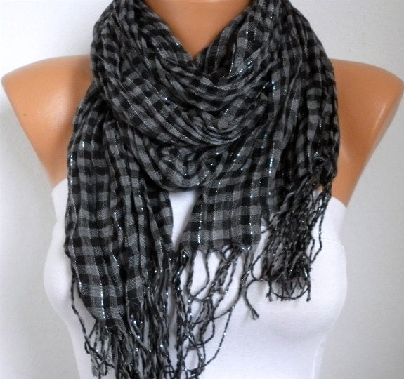 Black and charcoal-gray scarf