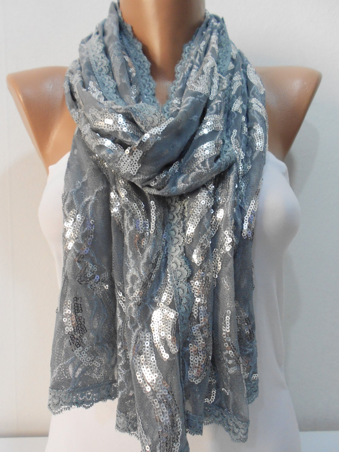 unique metallic gray lace scarf shawl sequin cowl by scarfclub