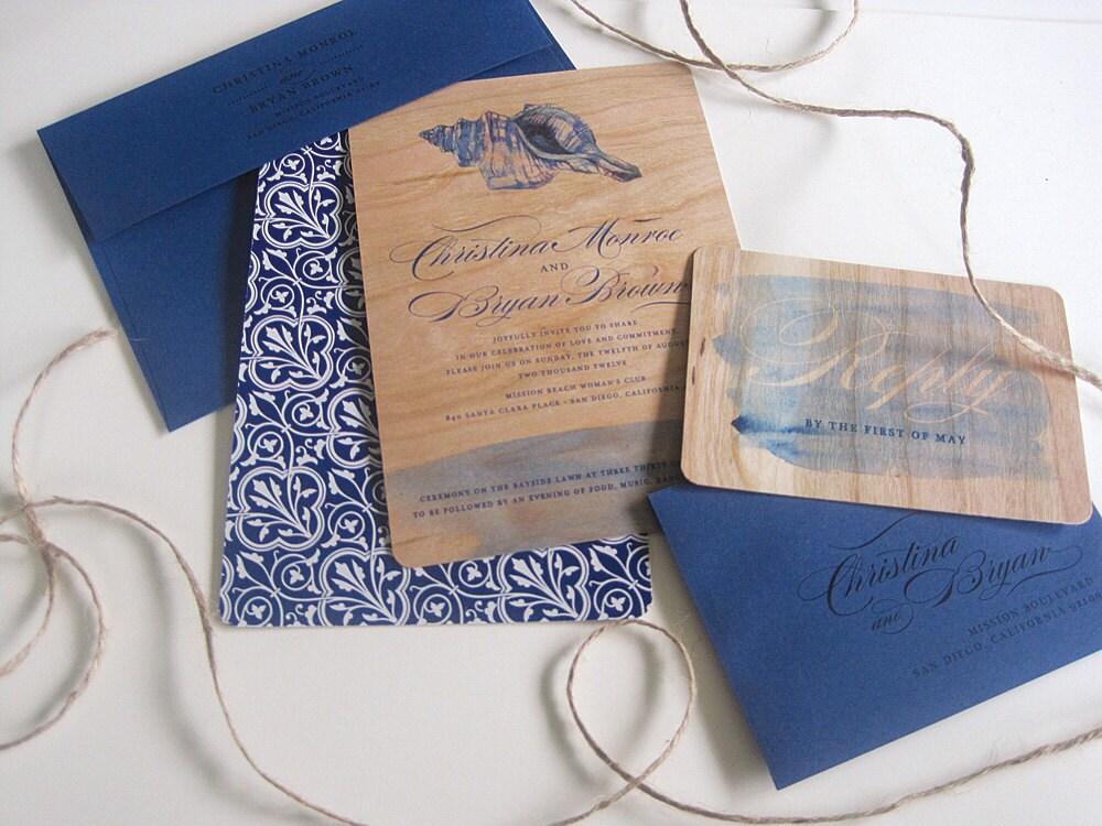 Real Wood Wedding Invitation Beach Weddings SAMPLE SET