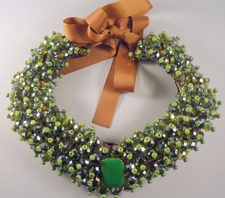 OOAK Light Emerald Bib Statement Necklace