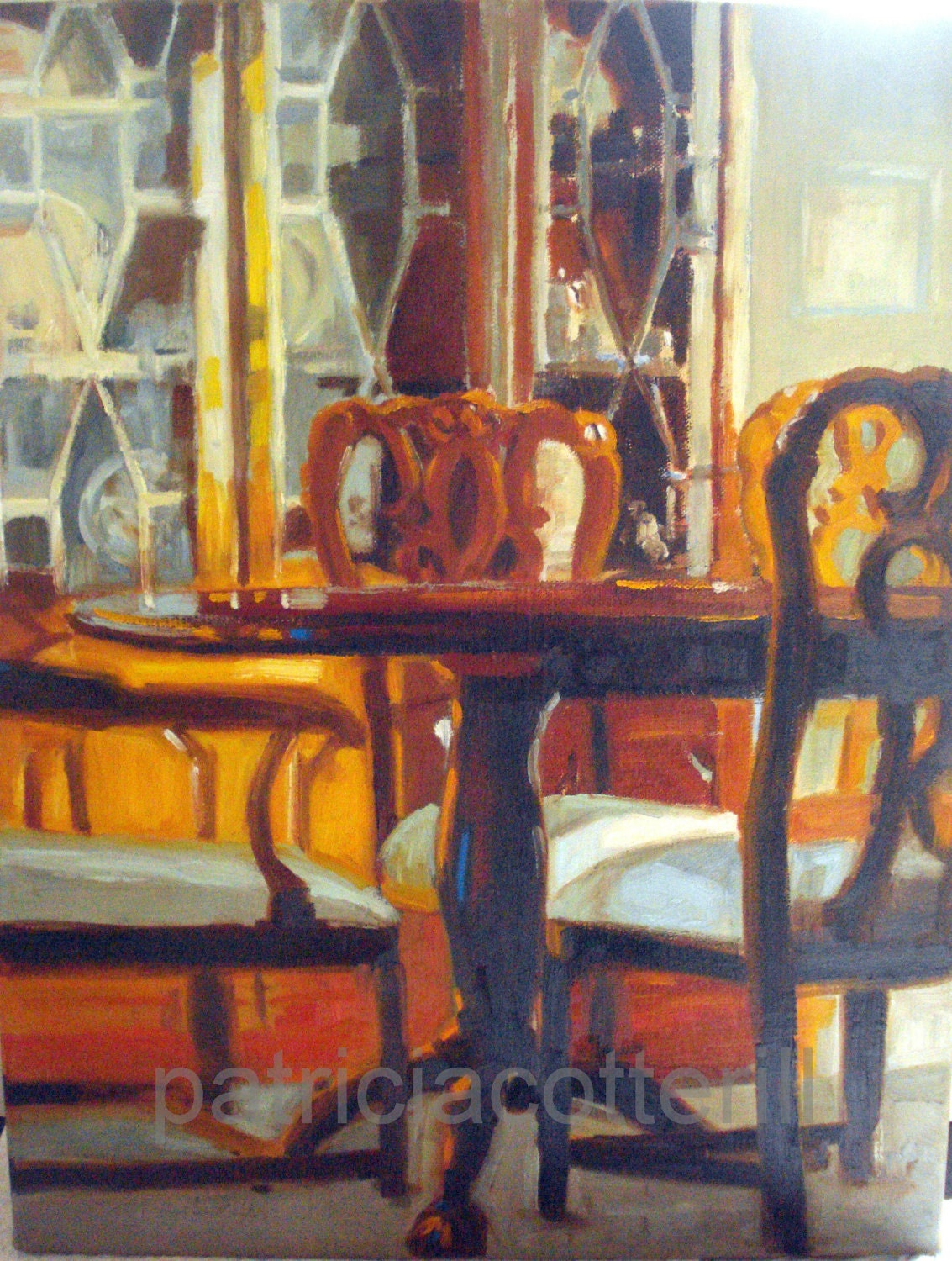 Dining room interior original oil painting by by pcotterill for Canvas painting for dining room
