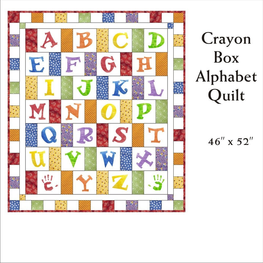 Alphabet Templates For Quilting : Crayon Box Alphabet Quilt Pattern by SarahBellumQuilts on Etsy