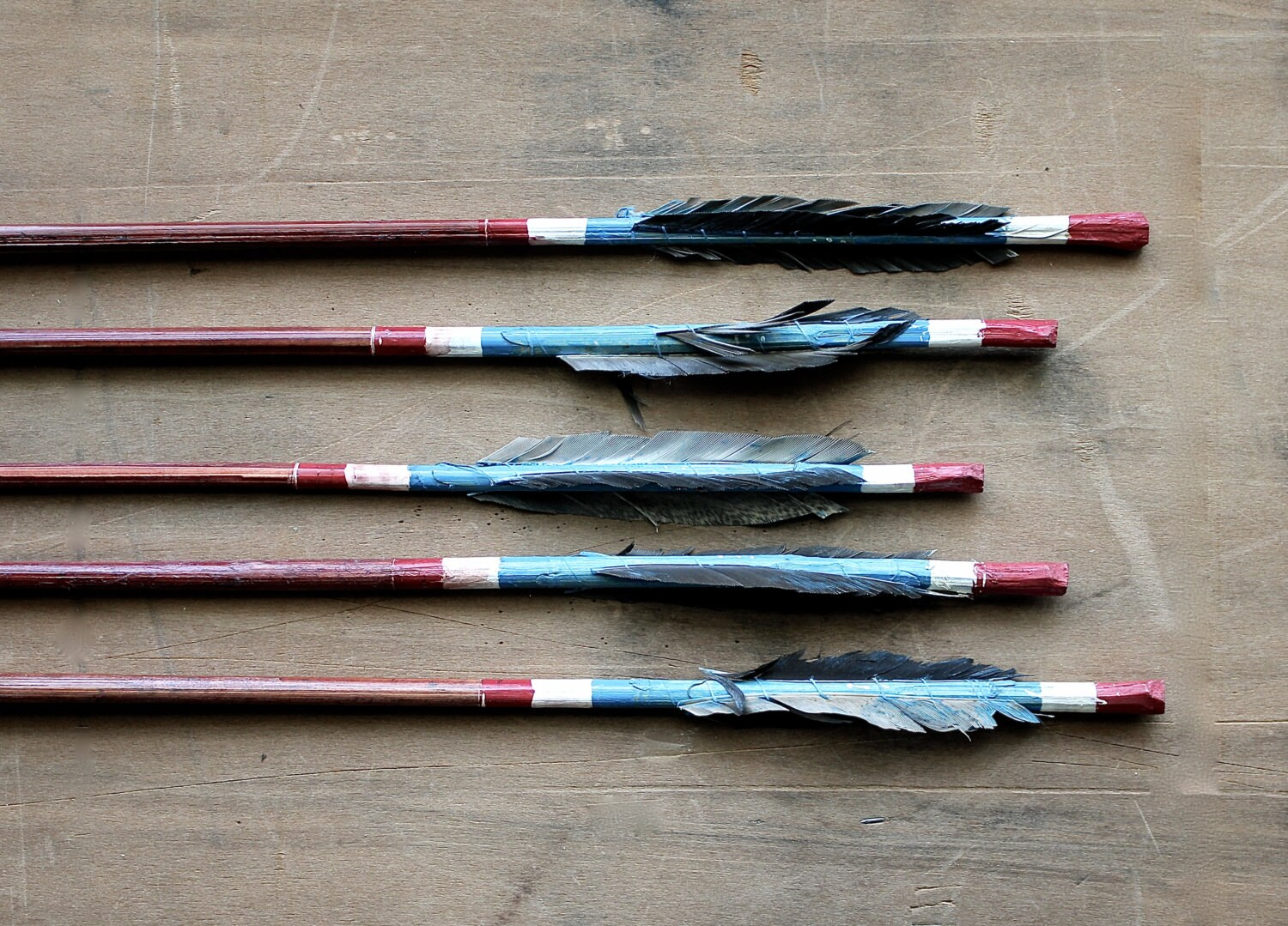 Steady, Aim, Fire - Vintage Arrows - Vintage Wooden Arrows - Feathers - Tribal - Blue - Red - Southwestern - Boho - becaruns