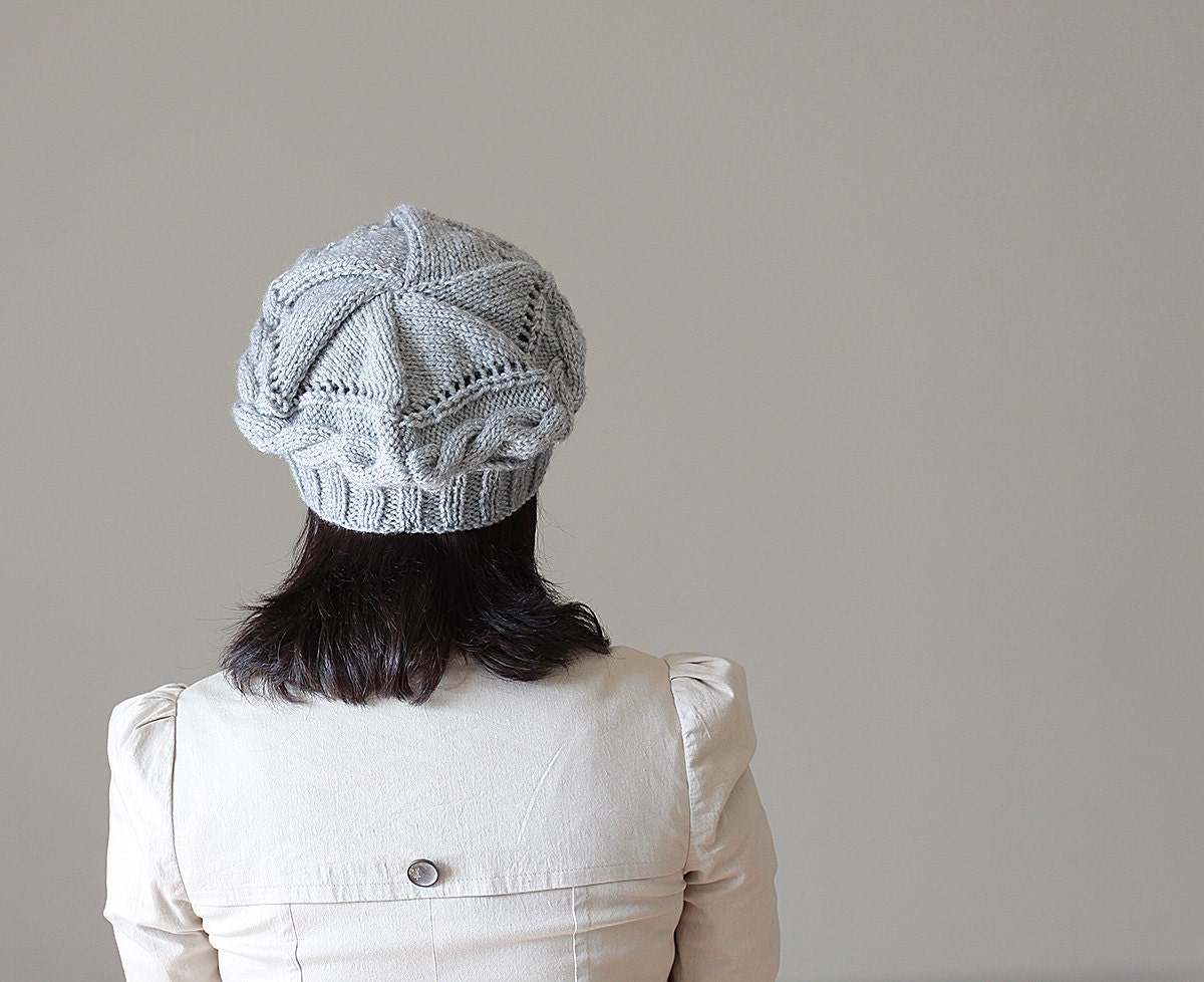knit hats light grey beret for womens cable knit