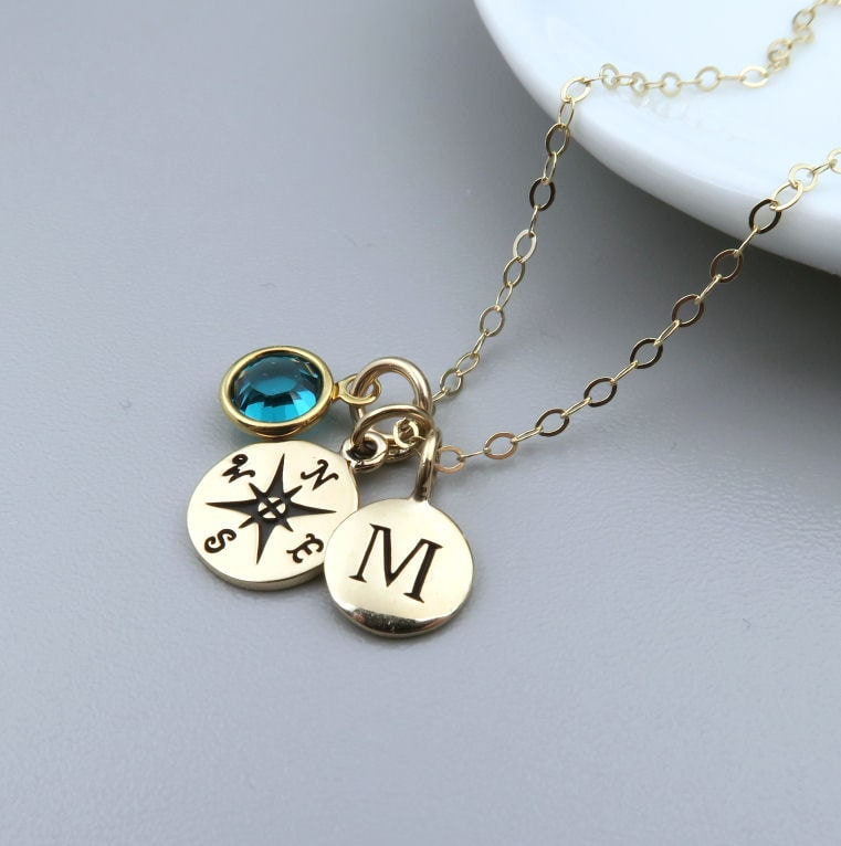 Gold Compass Necklace Personalized Compass Initial Birthstone Necklace 14k Gold Fill Enjoy the Journey