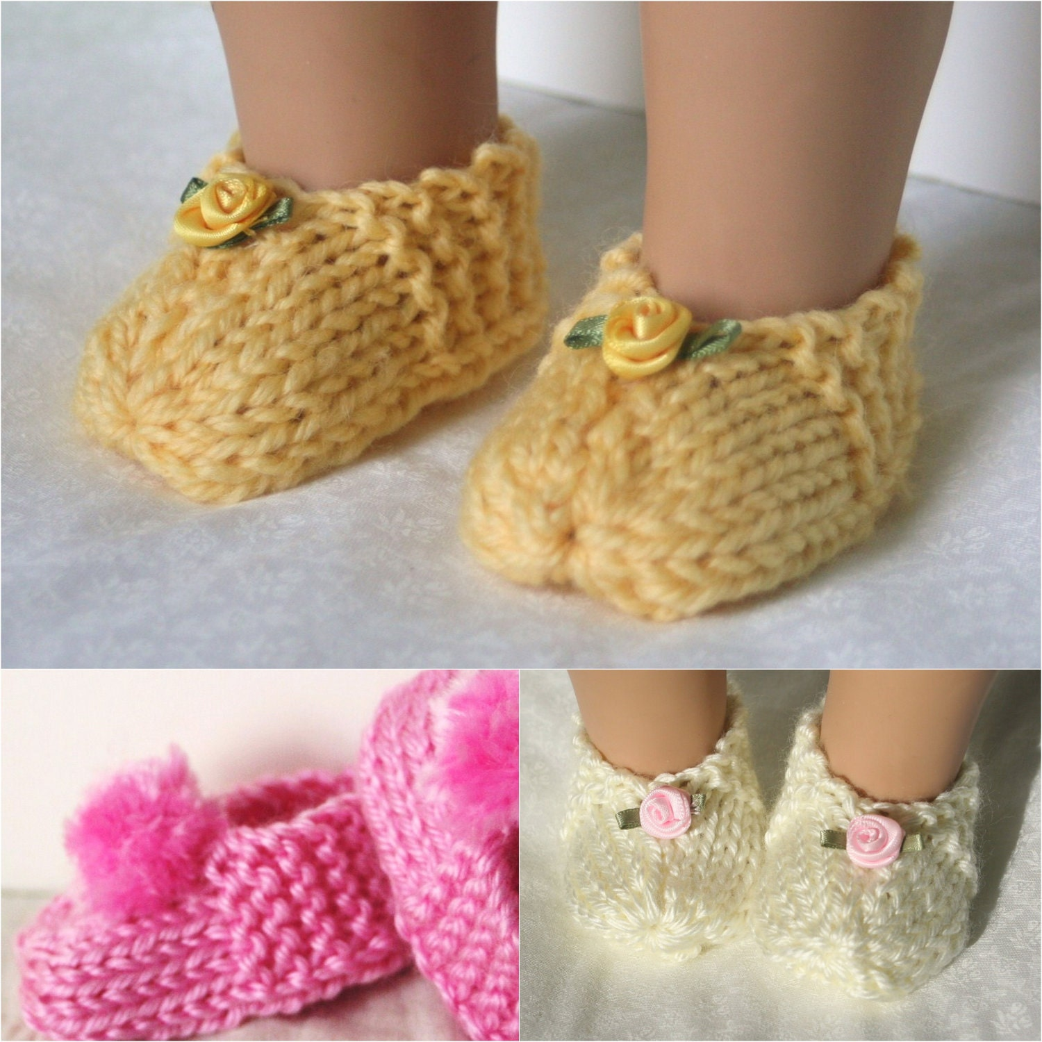 Pattern for Doll Slippers Booties knitting pattern by LynettesArt
