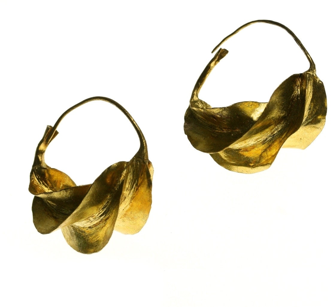 Fulani Earrings: Vintage African Fulani Hoop Earrings Gold By ArtifactVintage