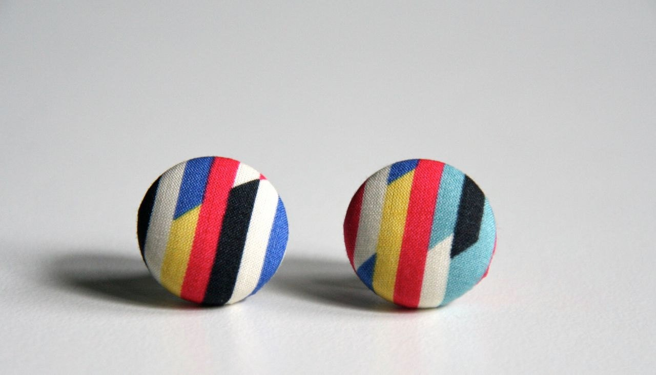 Geometric Bright Ear Studs (Earrings) - Liberty of London Cotton Tana Lawn - Red Yellow Blue Black - DustyJo