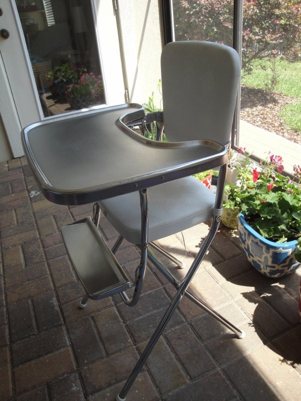 Vintage Retro White Cosco High Chair Foldable And By