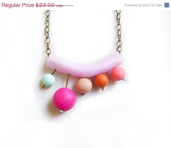 SUMMER SALE Floating Bubbles Candy Necklace - Pastel Rainbow Handmade Polymer Clay  Necklace - AlinaandT