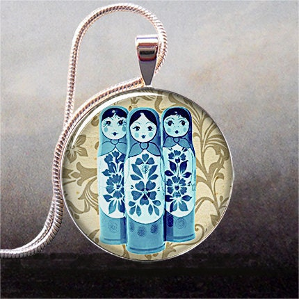 Blue Babushkas art pendant charm, resin pendant picture pendant photo pendant (274)